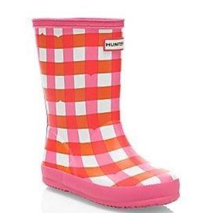 Hunter Kids First Gingham Print Rain Boot